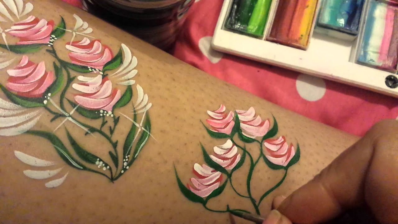 Simple rose face painting tutorial enjoy youtube for Easy way to paint a rose