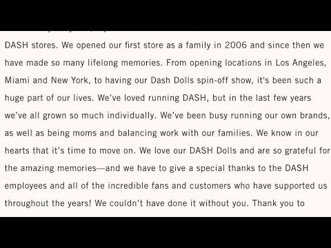 Kim Kardashian Announces All DASH Stores Are Closing: 'It's Time To Move On'