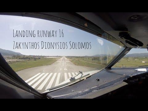 Approach and landing runway 16 Zakynthos Dionysios Solomos (ZTH LGZA)