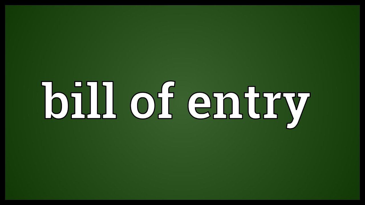 bill of entry meaning youtube