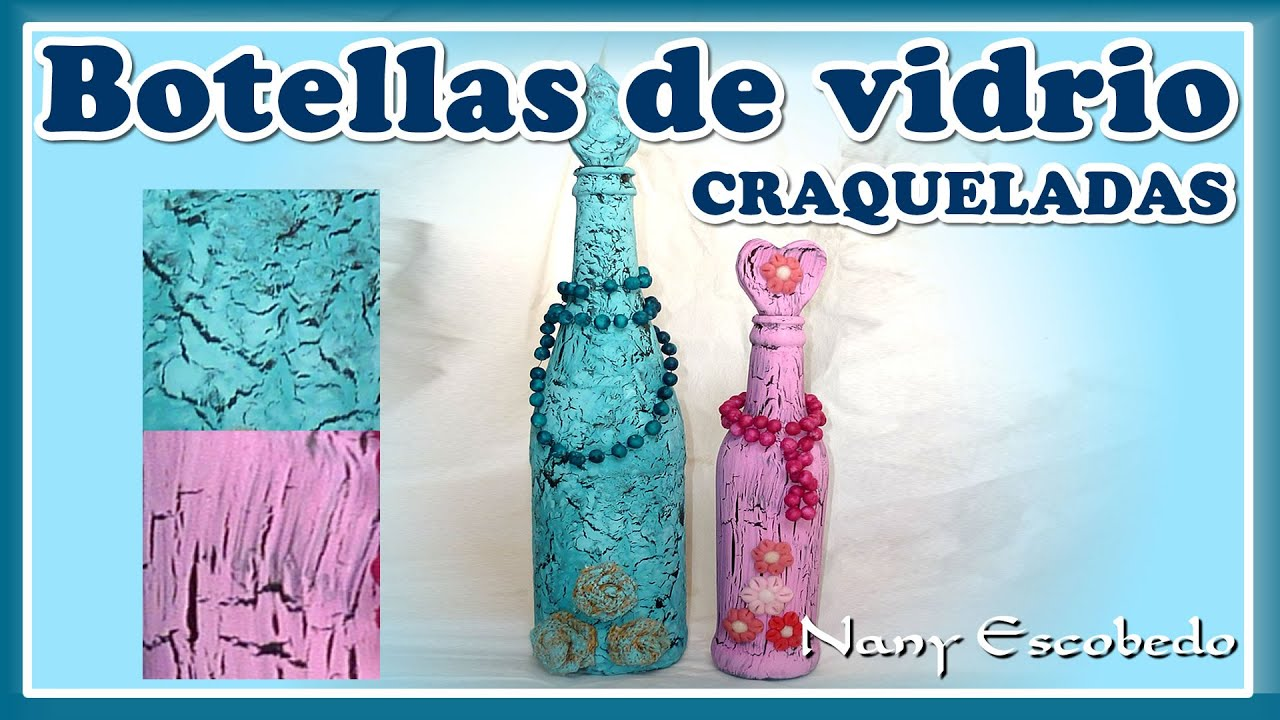 Botella de vidrio craquelada youtube for Botellas de cristal ikea