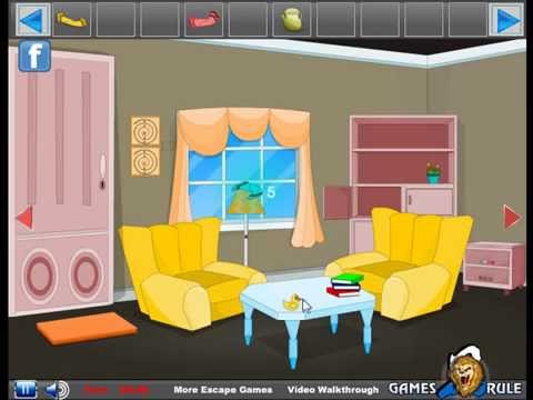 New escape cartoon room video walkthrough youtube for Cartoon picture of a living room