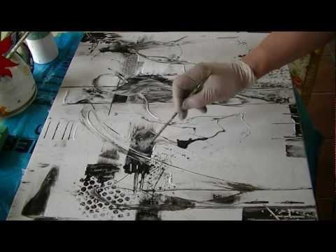 Abstract acrylic painting     Black and White   Abstrakte Acrylmalerei Schwarz und Weiß