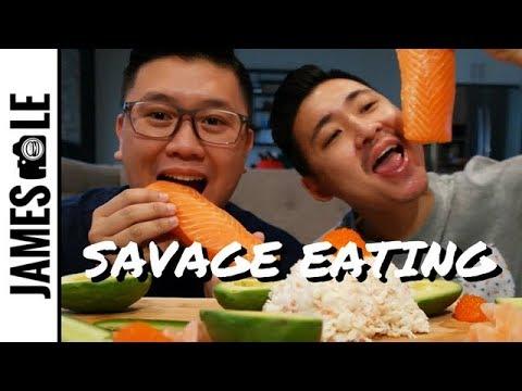 BLOCKS OF SALMON SASHIMI MUKBANG - SAVAGE EATING