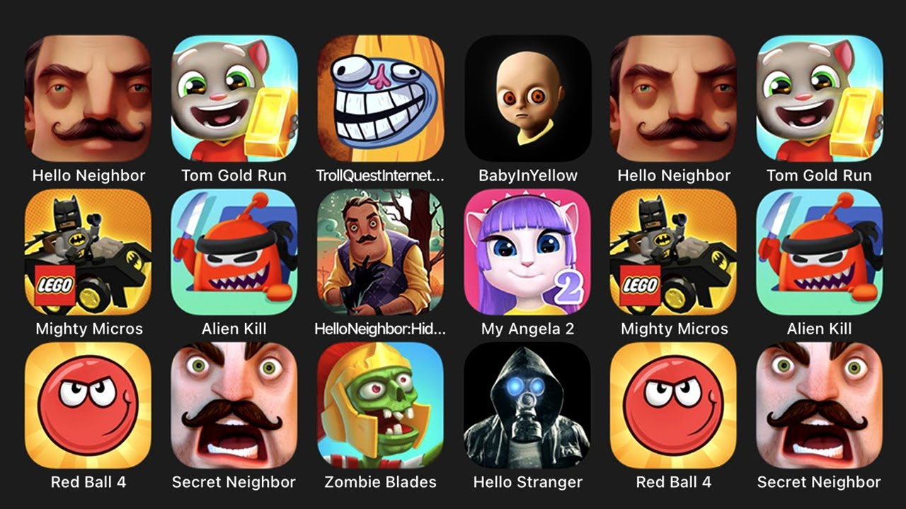 Download Hello Neighbor, Tom Gold Run, Troll Quest Internet Memes, Baby In Yellow, Mighty Micros, Alien Kill