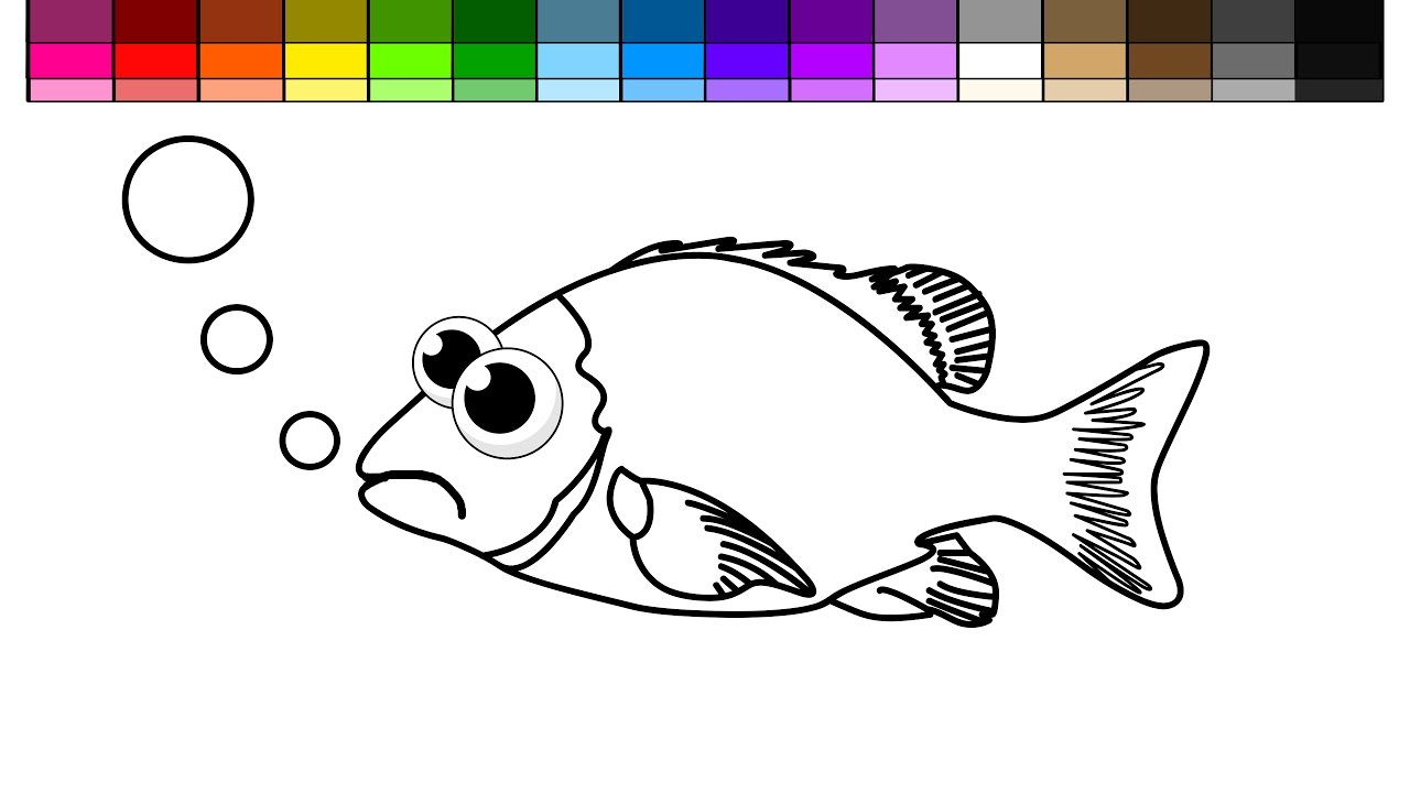 learn colors for kids and color sad fish coloring page youtube