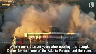 Georgia Dome imploded in downtown Atlanta