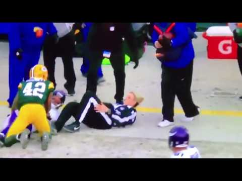 NFL Female Official Takes a Mean Hit on the Sidelines 😱 ( NFL hardest hits )