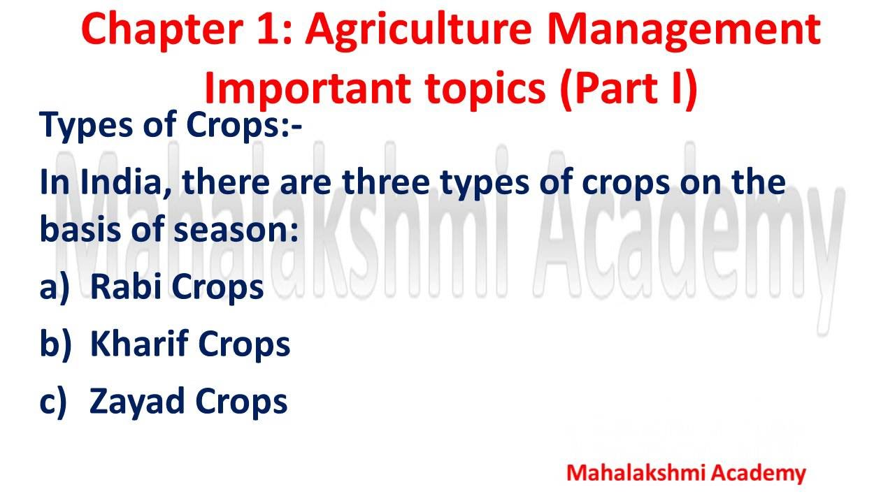 three types of crops