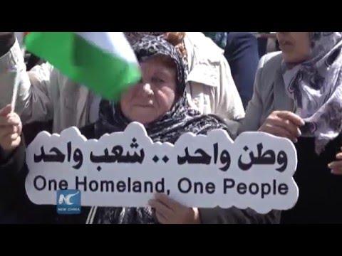 Palestinian women demonstrate in West Bank, Gaza for ending internal split