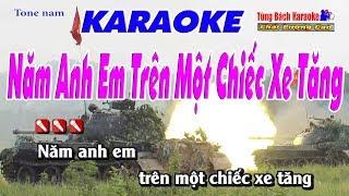 Năm Anh Em Trên Một Chiếc Xe Tăng - Karaoke HD Nhạc Sống Tùng Bách