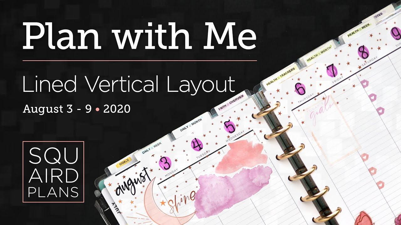 Plan with Me :: Summer Nights :: Squaird Plans Lined Vertical Layout :: Classic Happy Planner 2020