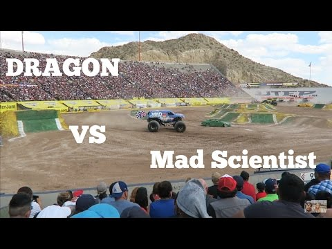 Dragon VS Mad Scientist Monster Jam 2017! El Paso Tx