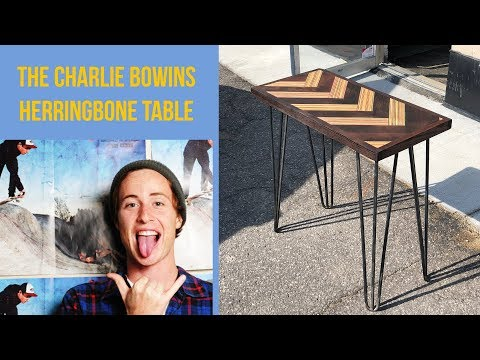 The Charlie Bowins Recycled Skateboards Herringbone Table