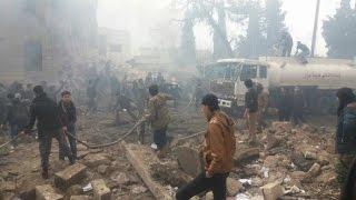 شاهد.. عشرات الشهداء بانفجار سيارة مفخخة وسط مدينة اعزاز - جولة الرابعة