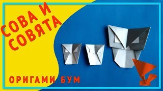 Сова и совята из бумаги,как сделать сову оригами .
