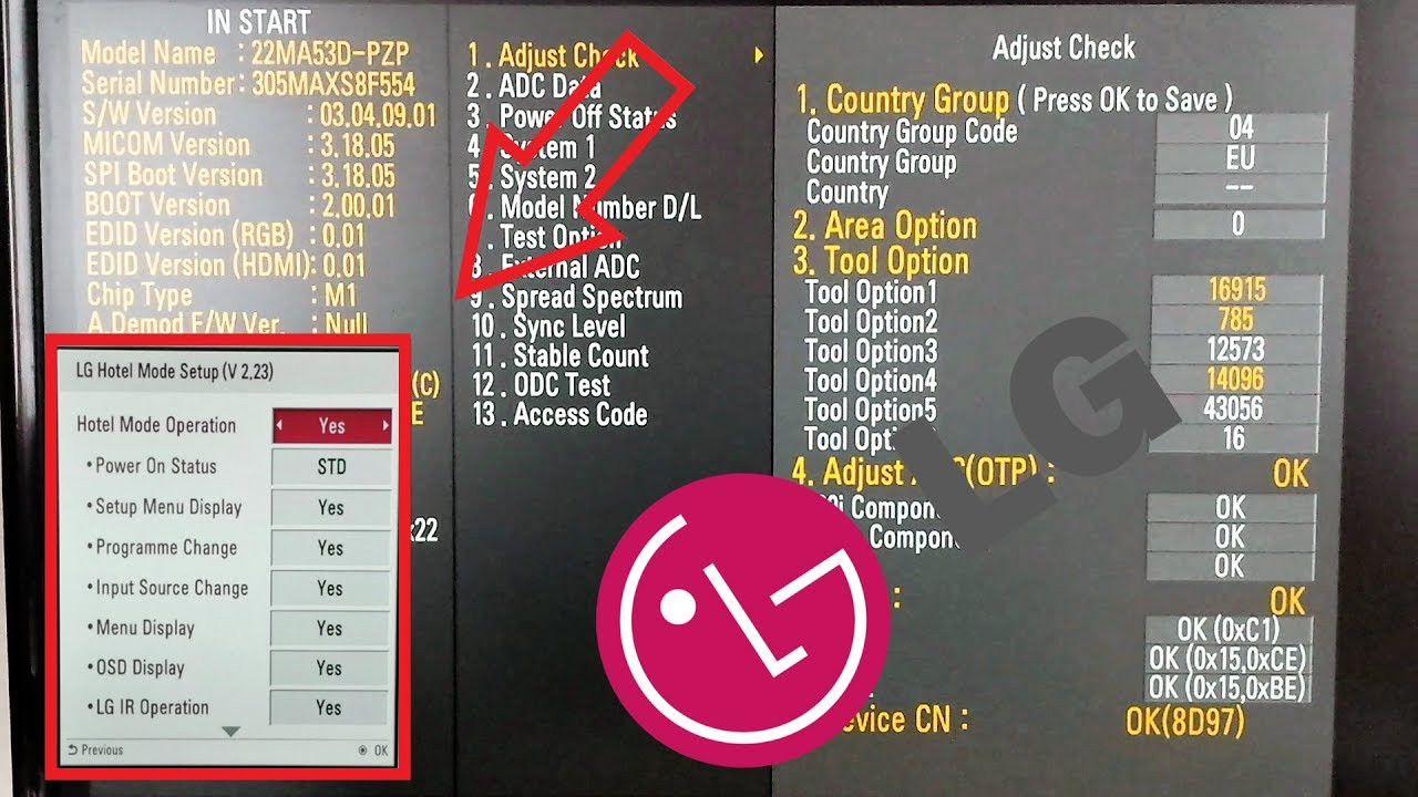 LG TV codes : Enter Hotel mode , Installation Menu through Service menu