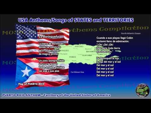 "Puerto Rico Territory Anthem ""La Borinqueña"" with music, vocal and lyrics"
