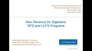 David McCullough: New Revenue for Digesters: The Renewable Fuel Standard