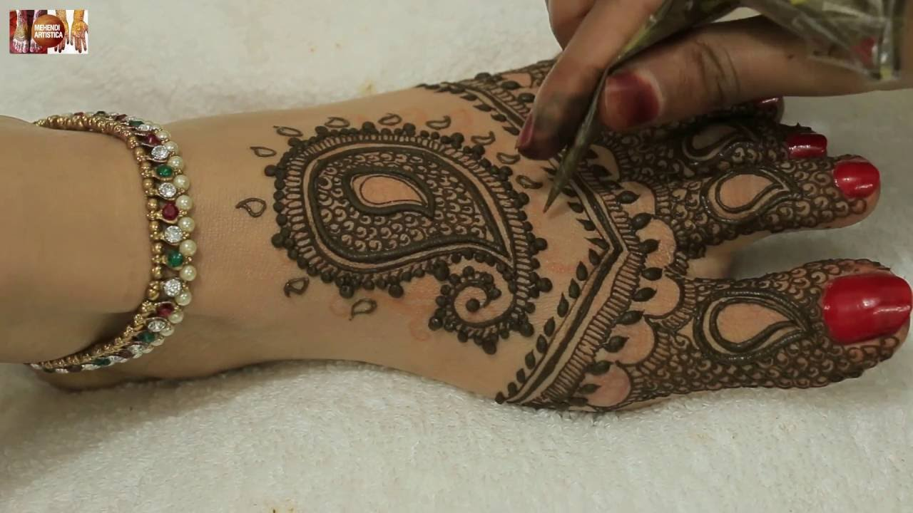 Mehndi Legs Images : Simple beautiful paisley leafs mehandi design for hands legs