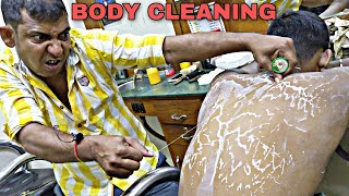 An amazing body scrub and dirt cleaning by Asim barber | legendary neck cracking | Indian ASMR