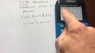 معادلة القطع المكافئ بالنظر إلى 3 نقاط Ti84