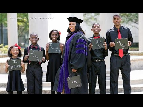 e0514c51ce1 Single mom of five goes viral with law school graduation photo - YouTube