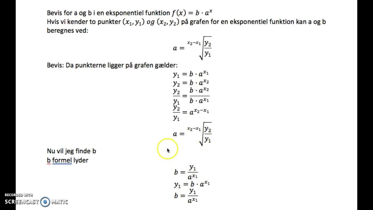 bevis for eksponentiel funktion
