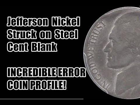 HUGE MINT MISTAKE 1943 Jefferson Nickel Struck on Steel Cent Blank