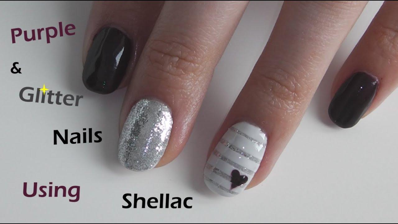 Purple and Glittery Shellac Nails - YouTube