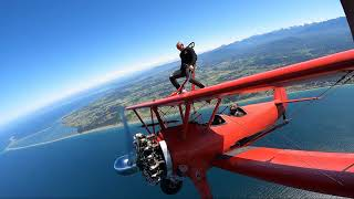 First time wing walker shows no fear.