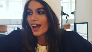 Kaia Gerber talking about her Signature Walk at #NYFW with Kegrand.
