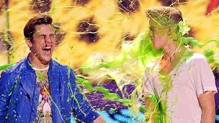 Austin Mahone & Cody Simpson Slimed at Kids Choice Awards 2014!