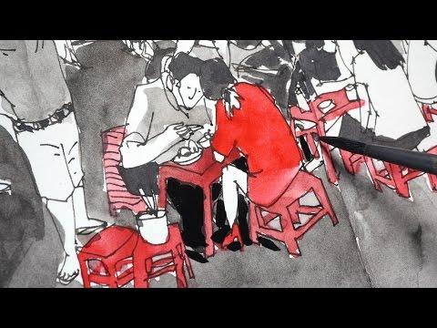 Vietnam Roadside Stalls (Sketching timelapse)