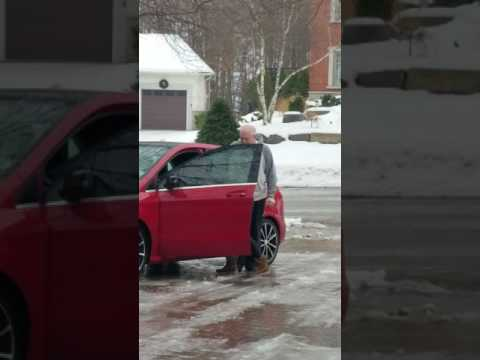 Canadian Christmas Driveway Ice Hysterics - MUST WATCH WITH SOUND UP!!