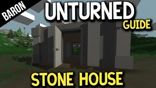 Unturned Stone House Tutorial - Advanced Building - How To Make A House!