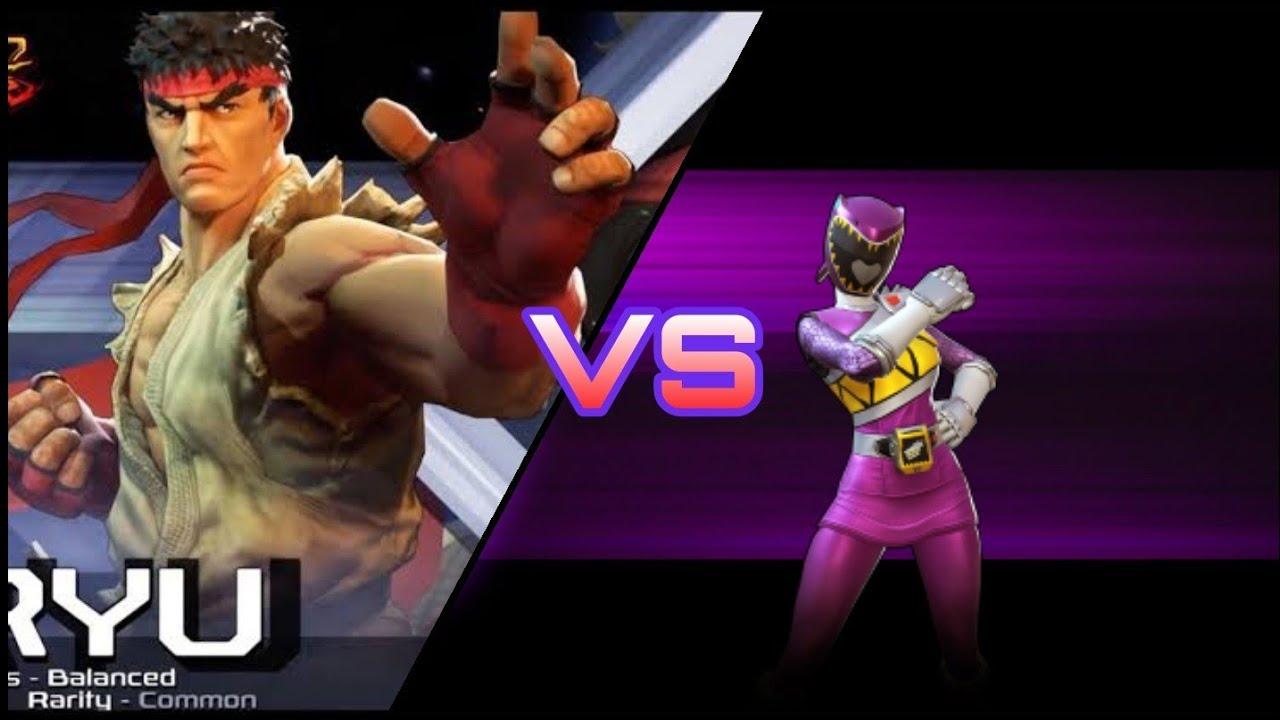 Power Rangers X Street Fighter (PR: Legacy Wars) - Ryu VS Dino Charge Purple Ranger Kendall Morgan