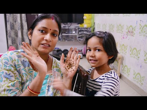 My four year old daughter applied me mehndi || Preparation for journey