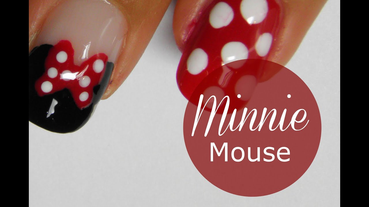 Disney Minnie Mouse nail art tutorial - Disney Minnie Mouse Nail Art Tutorial - YouTube