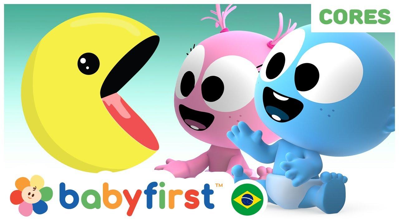 Aprenda cores jogando Pacman   Desenhos para bebês em português  Videos Educativos  BabyFirst Brasil