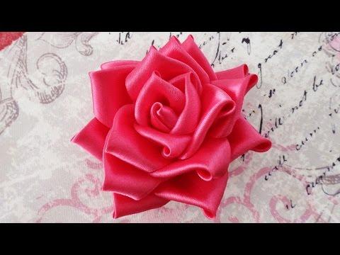 DIY Satin ribbon rose, satin ribbon flower tutorial,how to,kanzashi