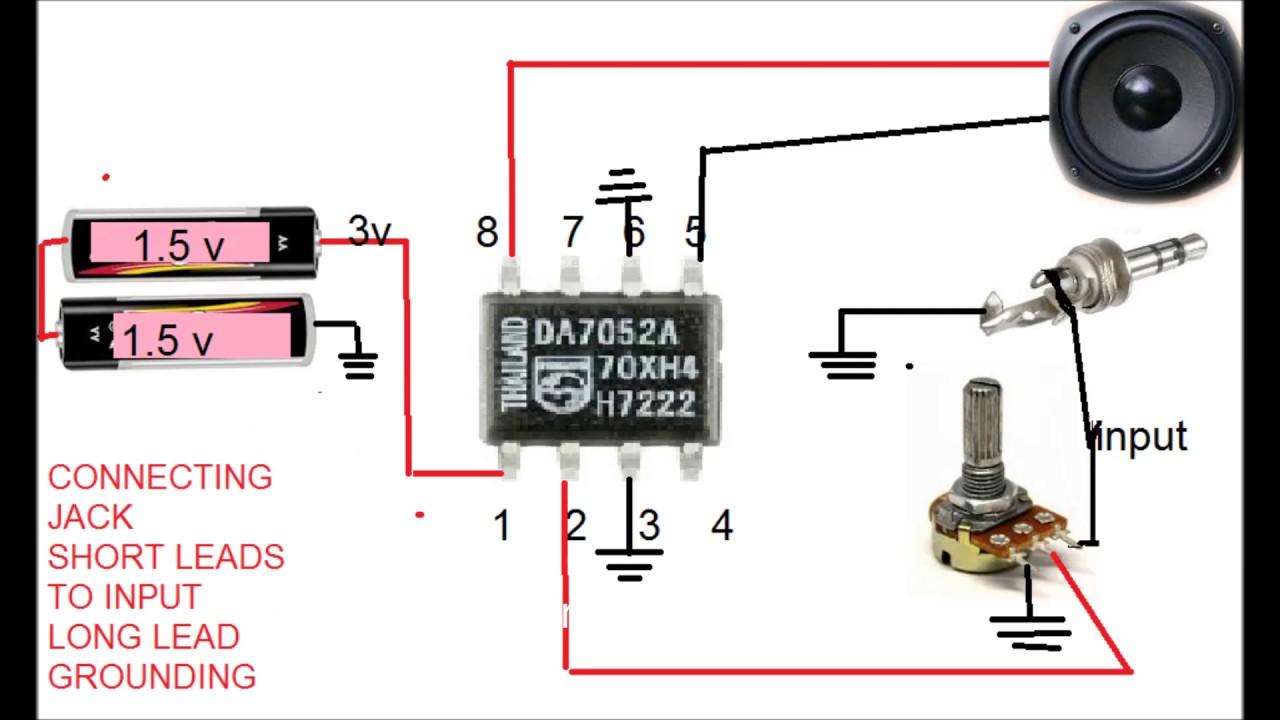 singal ic audio ampilfer using 2 pencil batteries - YouTube
