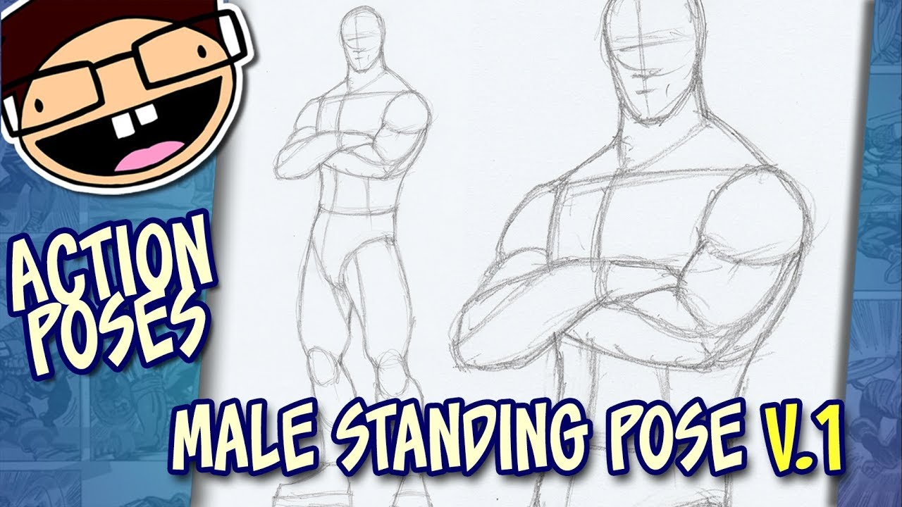 How to draw a male standing pose version 1 narrated easy step by step tutorial