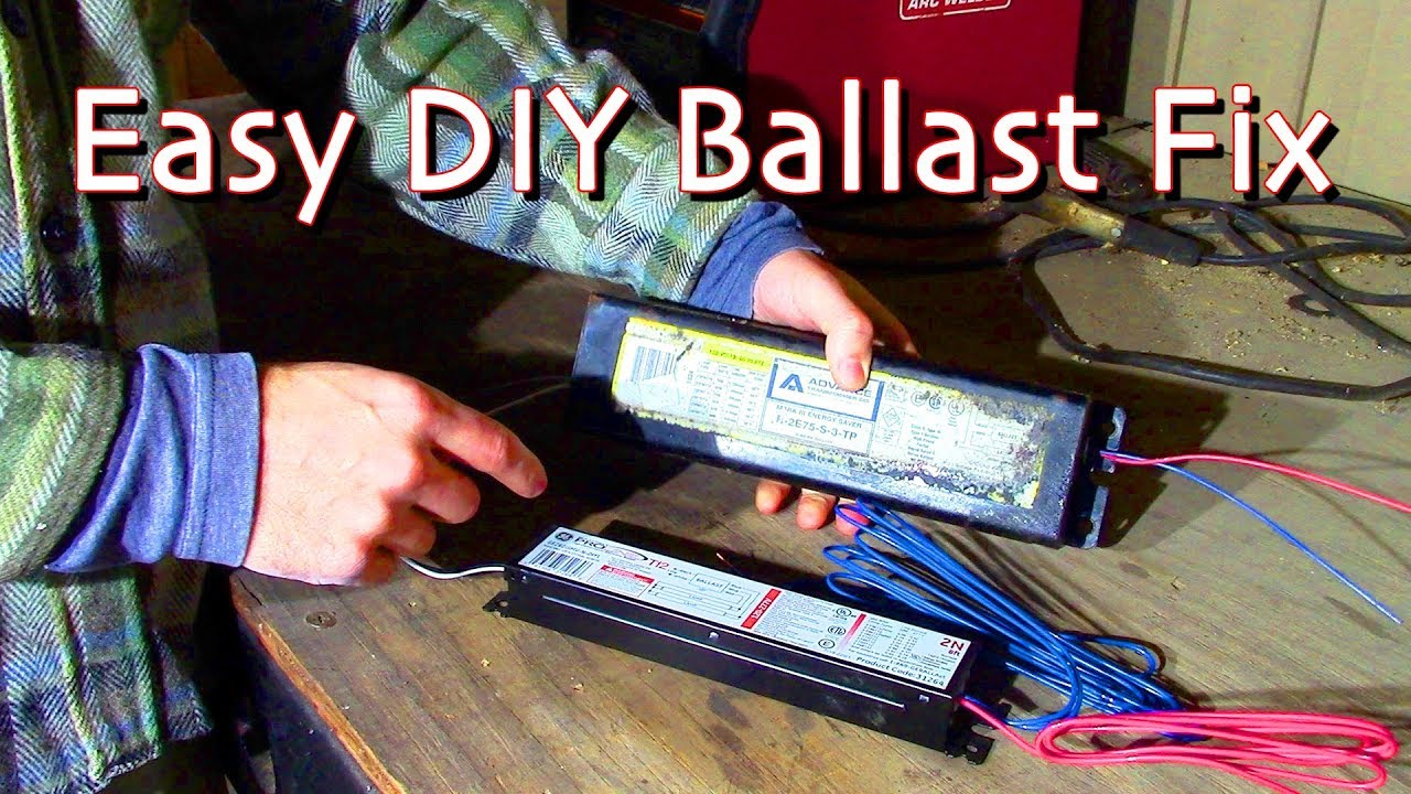 Replacing A Ballast On A T12 Fluorescent Light Fixture How To Convert To A New Electronic Ballast Youtube