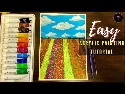Tulips field landscape acrylic painting 🌷| Easy tutorial for beginners | landscape painting ideas