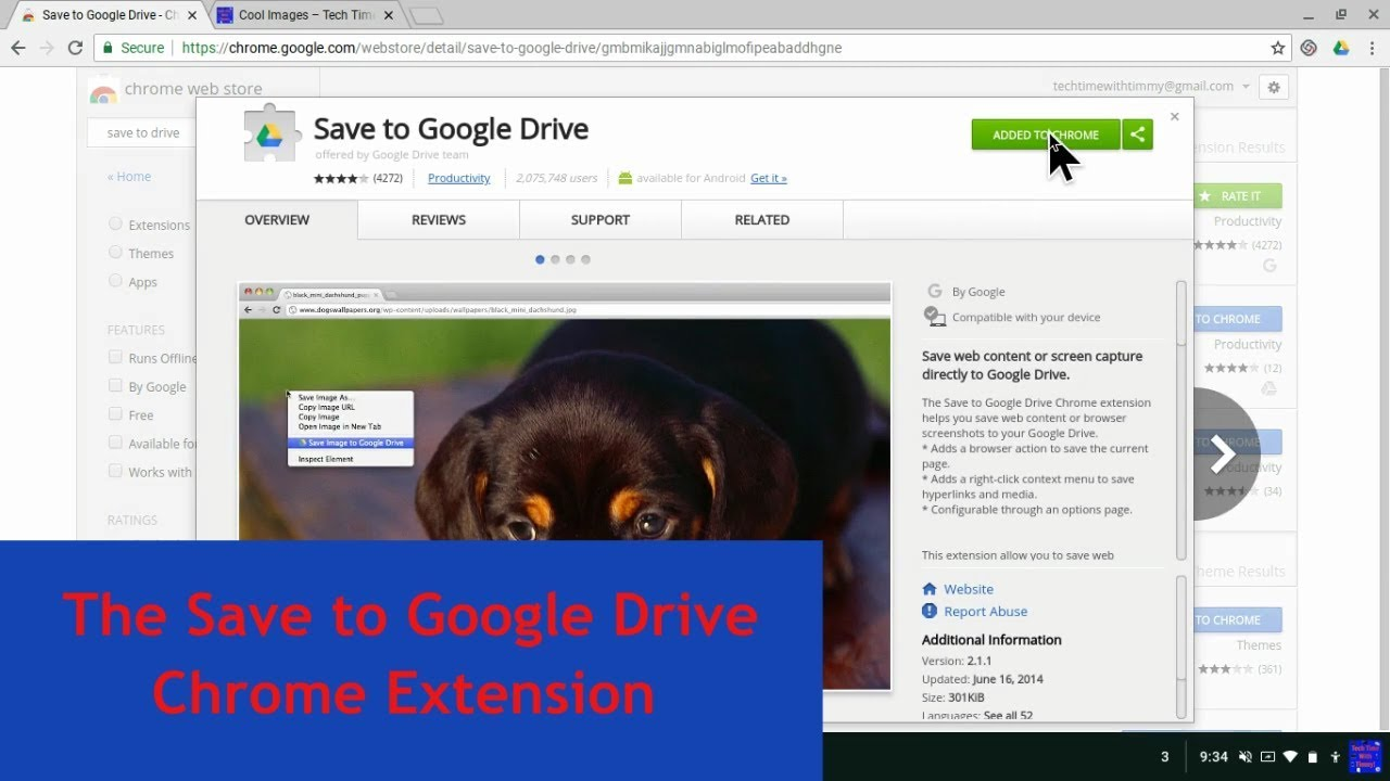 Tech Time With Timmy episode 169 - The Save to Google Drive Chrome Extension