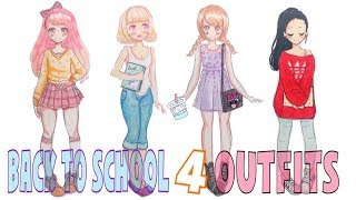 ✏️HOW TO DRAW - BACK TO SCHOOL 4 OUTFITS 📚 💕