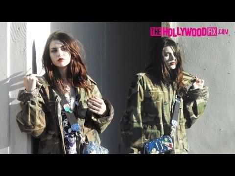 Frances Bean Cobain Models Camouflage & Platform Shoes At Marc Jacobs Photoshoot 12.3.16