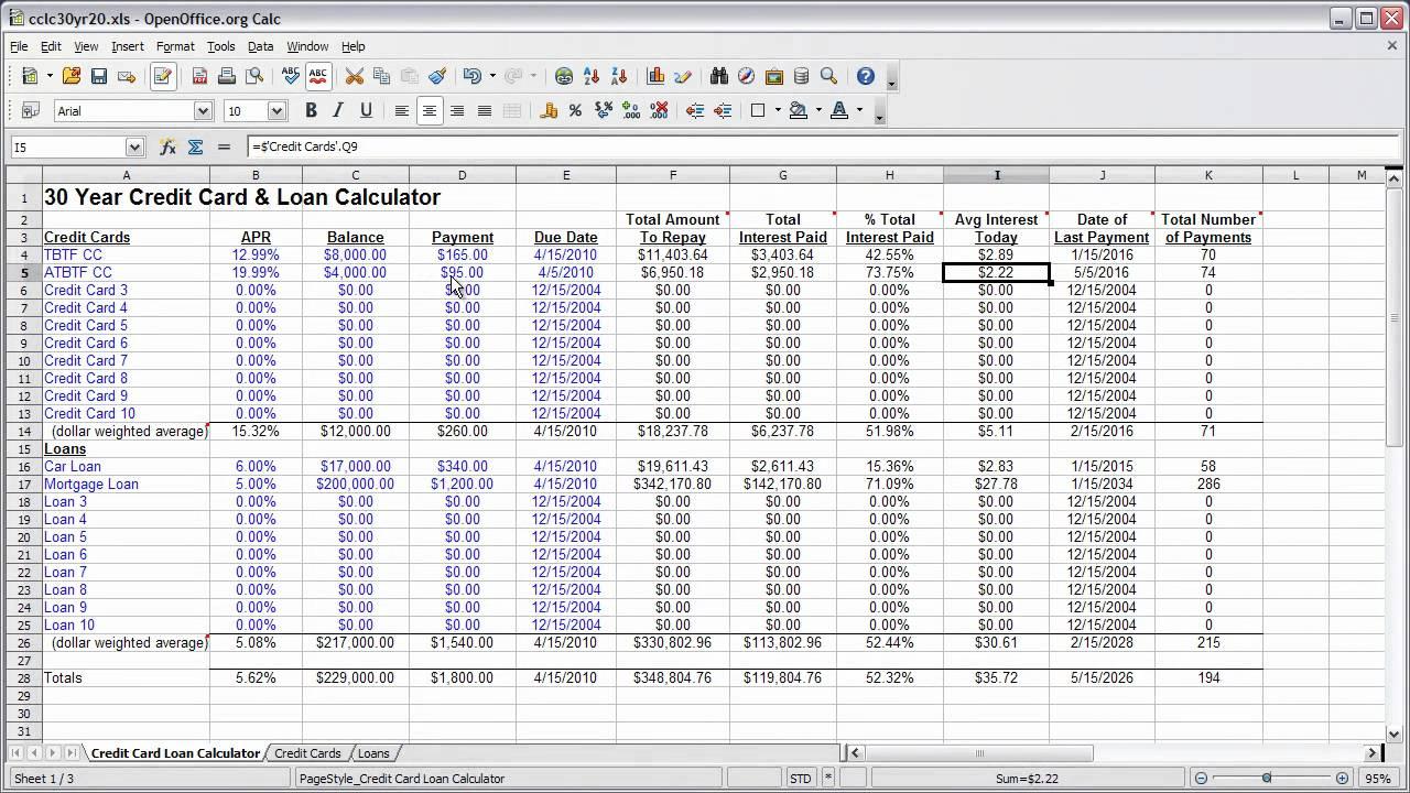 30 year credit card  u0026 loan calculator spreadsheet
