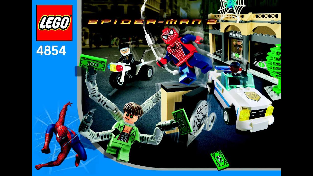 4854 lego spiderman doc ock 39 s bank robbery instruction booklet youtube - Lego spiderman 2 ...